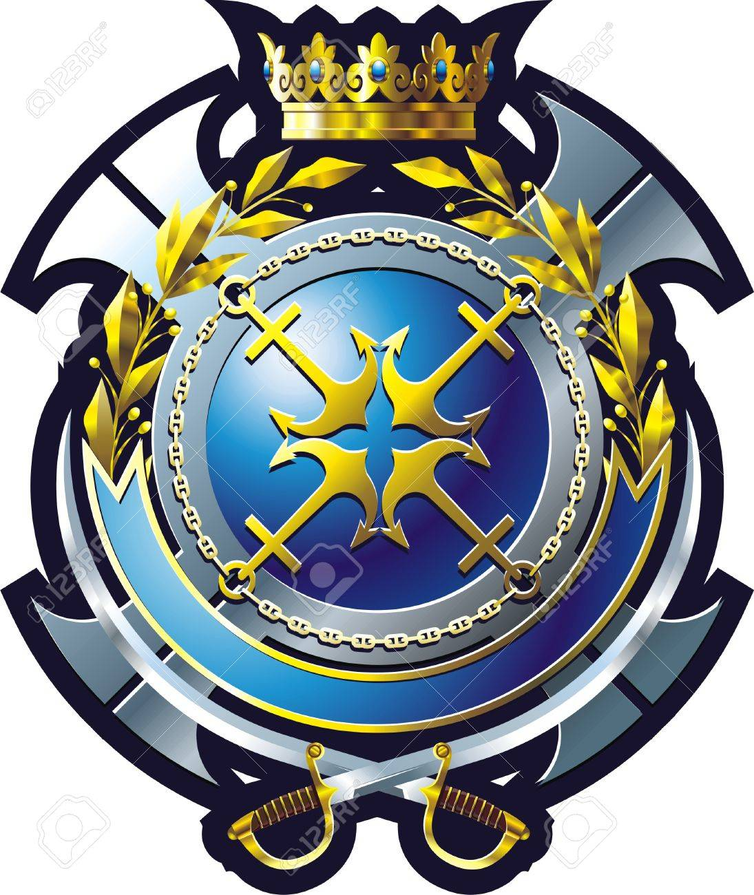 NAVY style emblem with anchor, cross and crown Stock Vector - 7877491