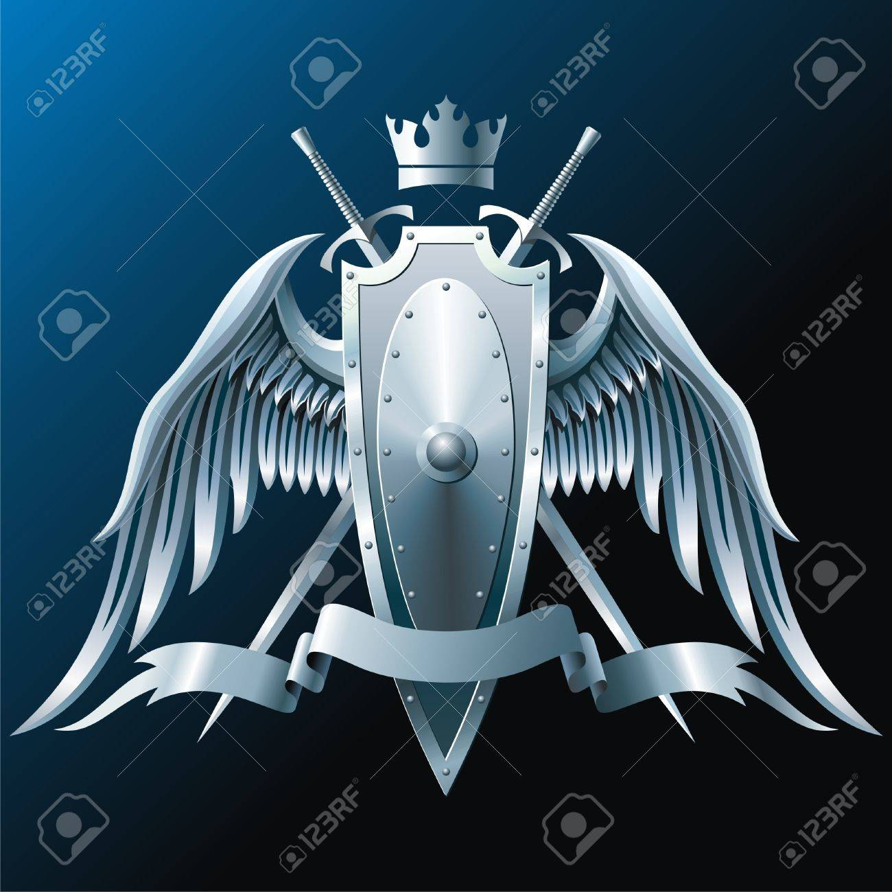 Sword With Wings Logo Composition With Crown Swords
