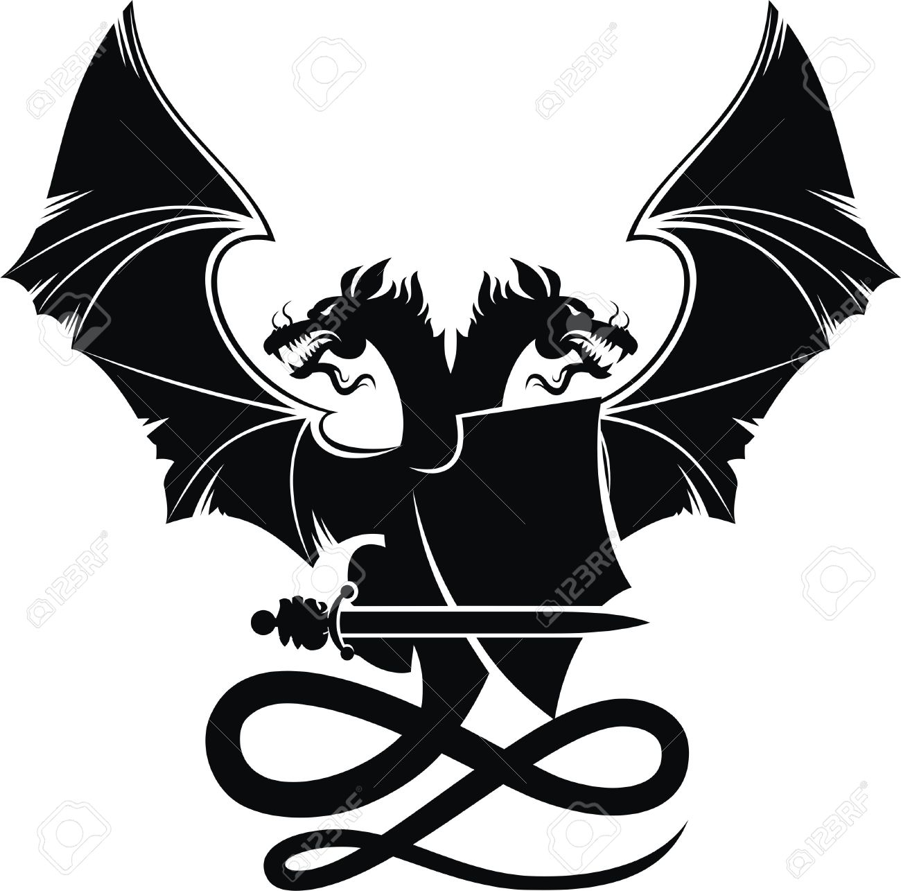 How to breed heraldic dragon - Heraldic Composition Heraldic Composition With Dragon Badge And Sword