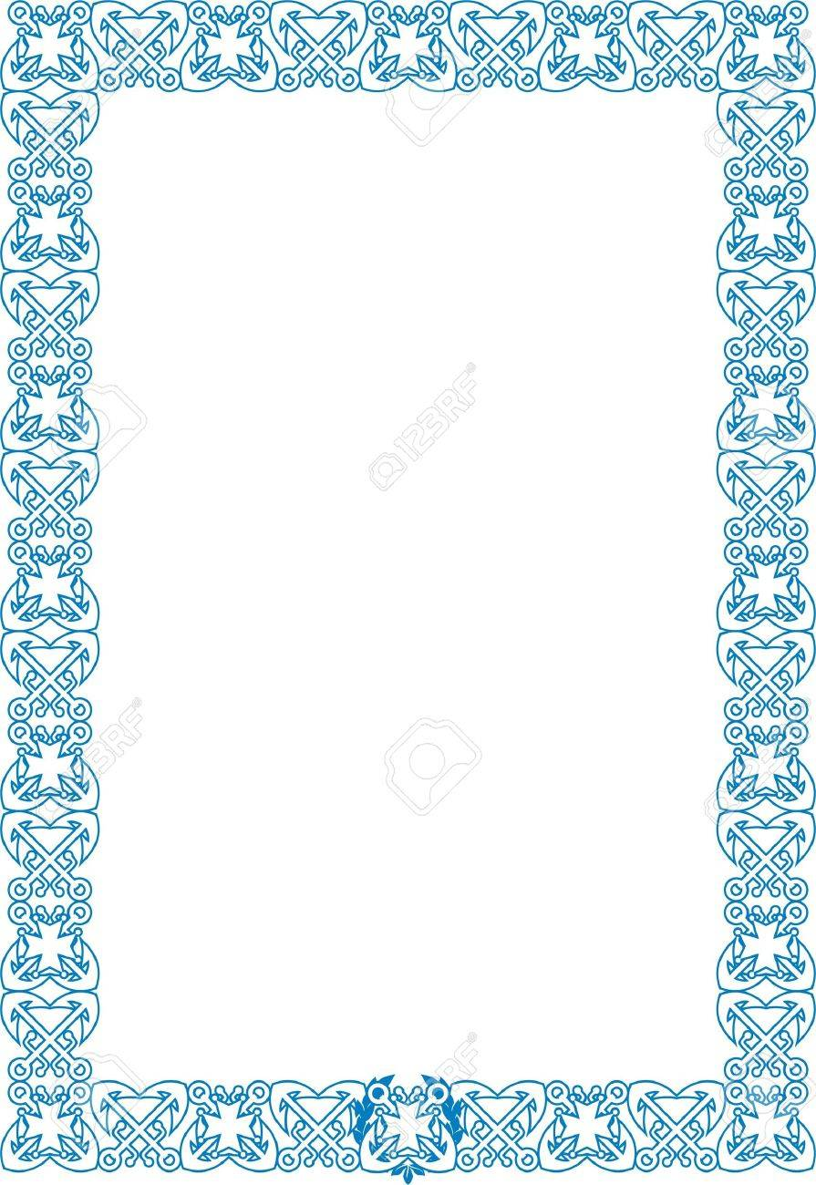 vector vector marine style frame with crossed anchors and cross