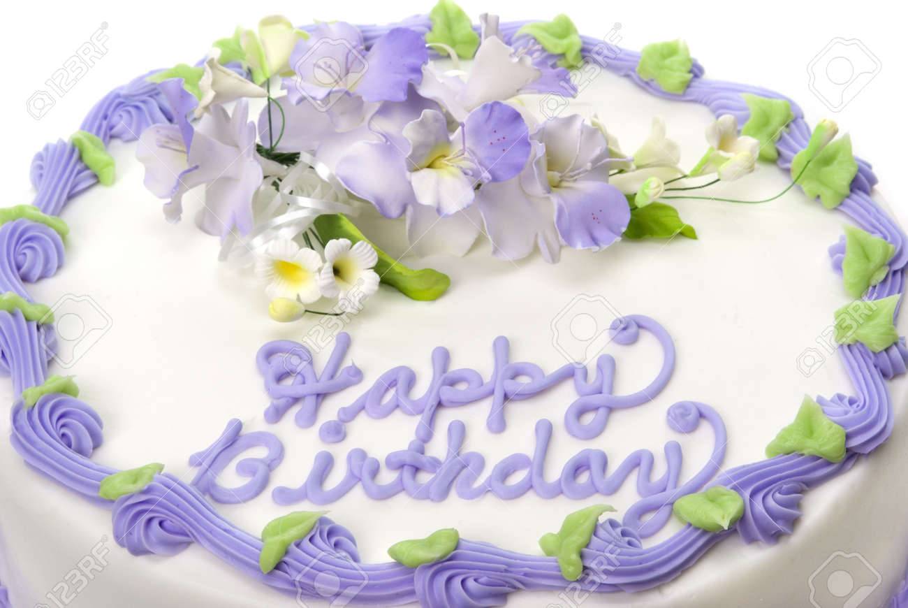 Delicious Beautifully Decorated Bithday Cake Stock Photo Picture