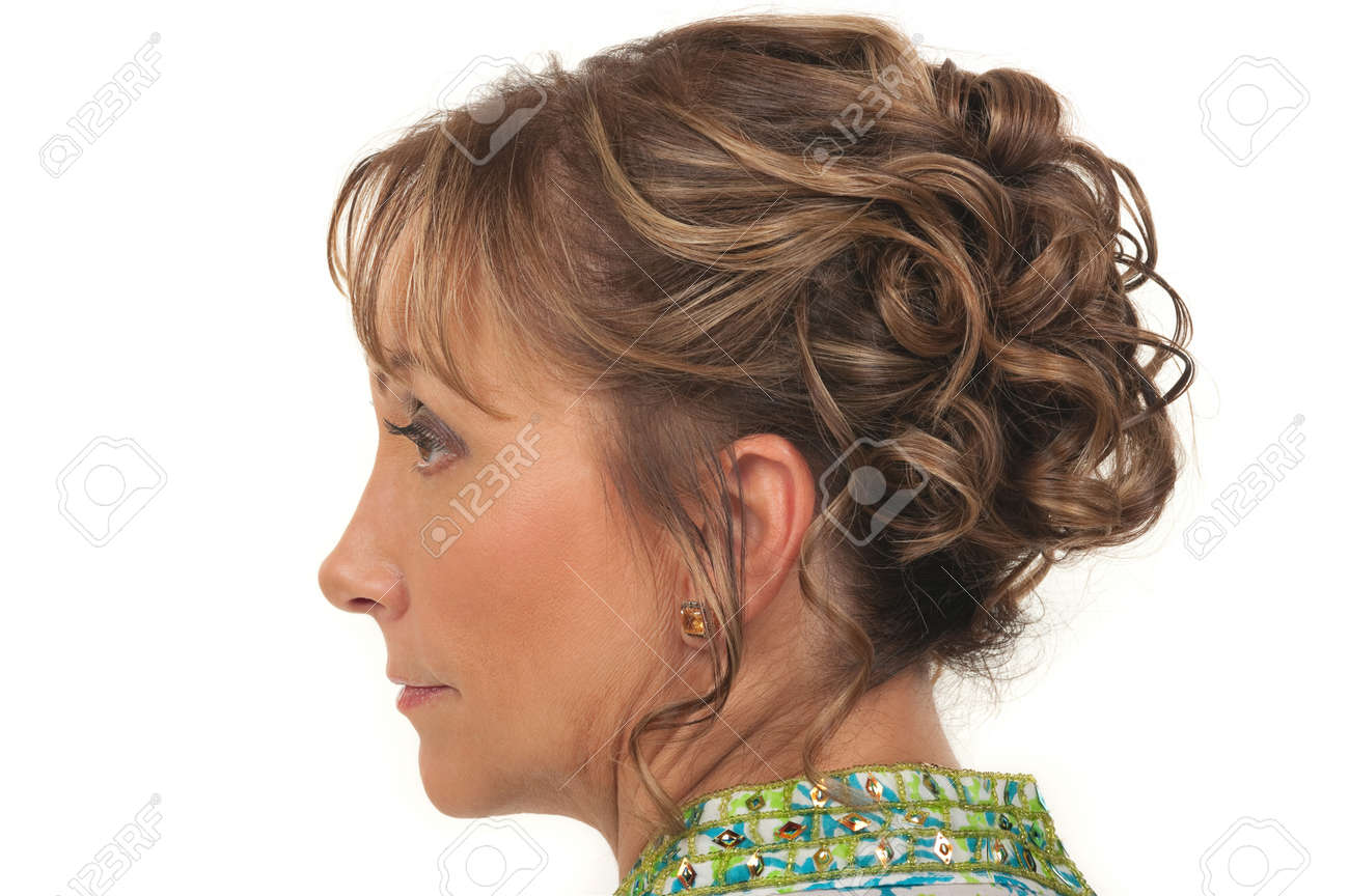 Beautiful Hairstyle For A Party Or Wedding For Older Women Stock