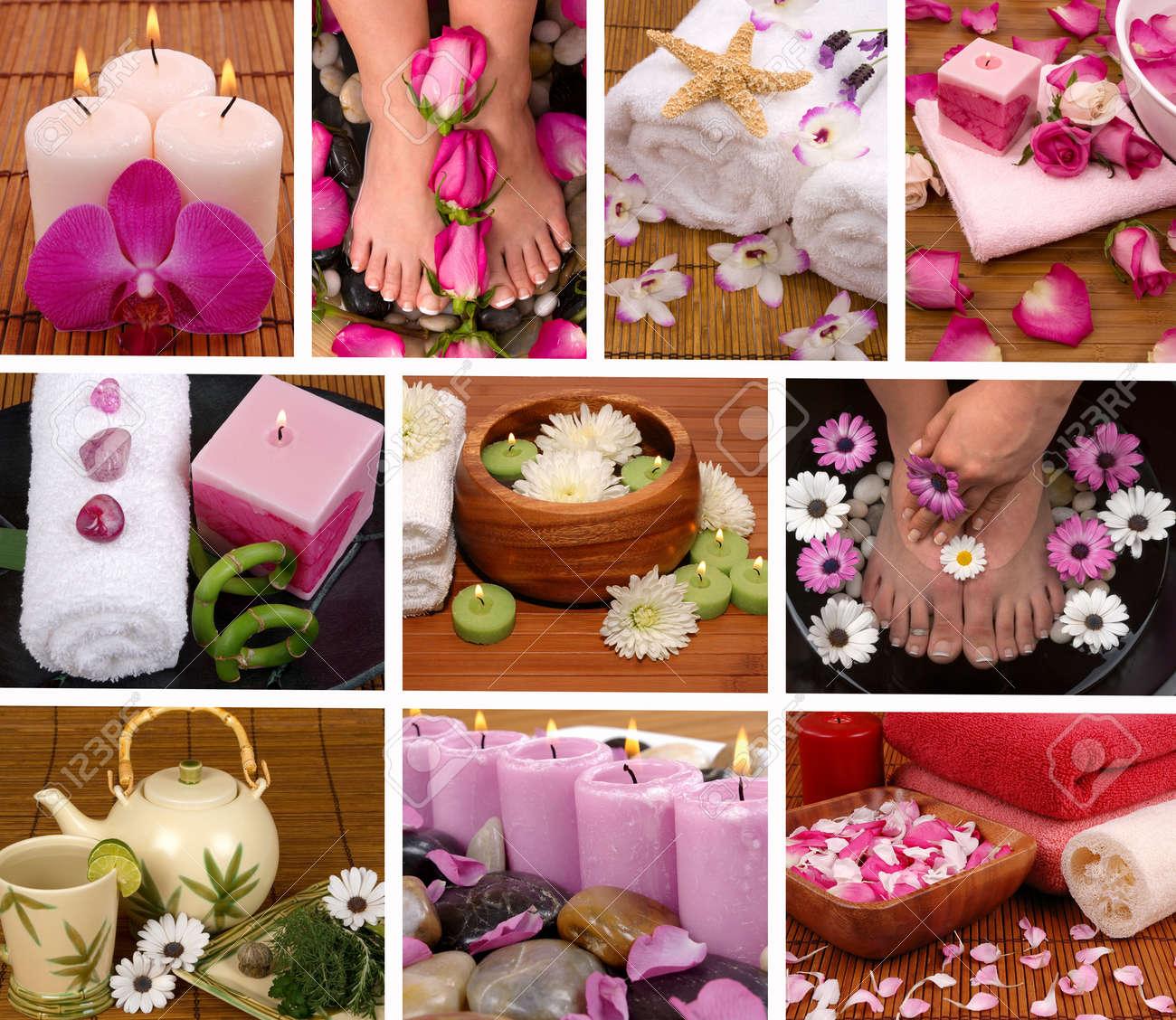Spa collage con aromaterapia, pedicura y masaje Foto de archivo - 13226695