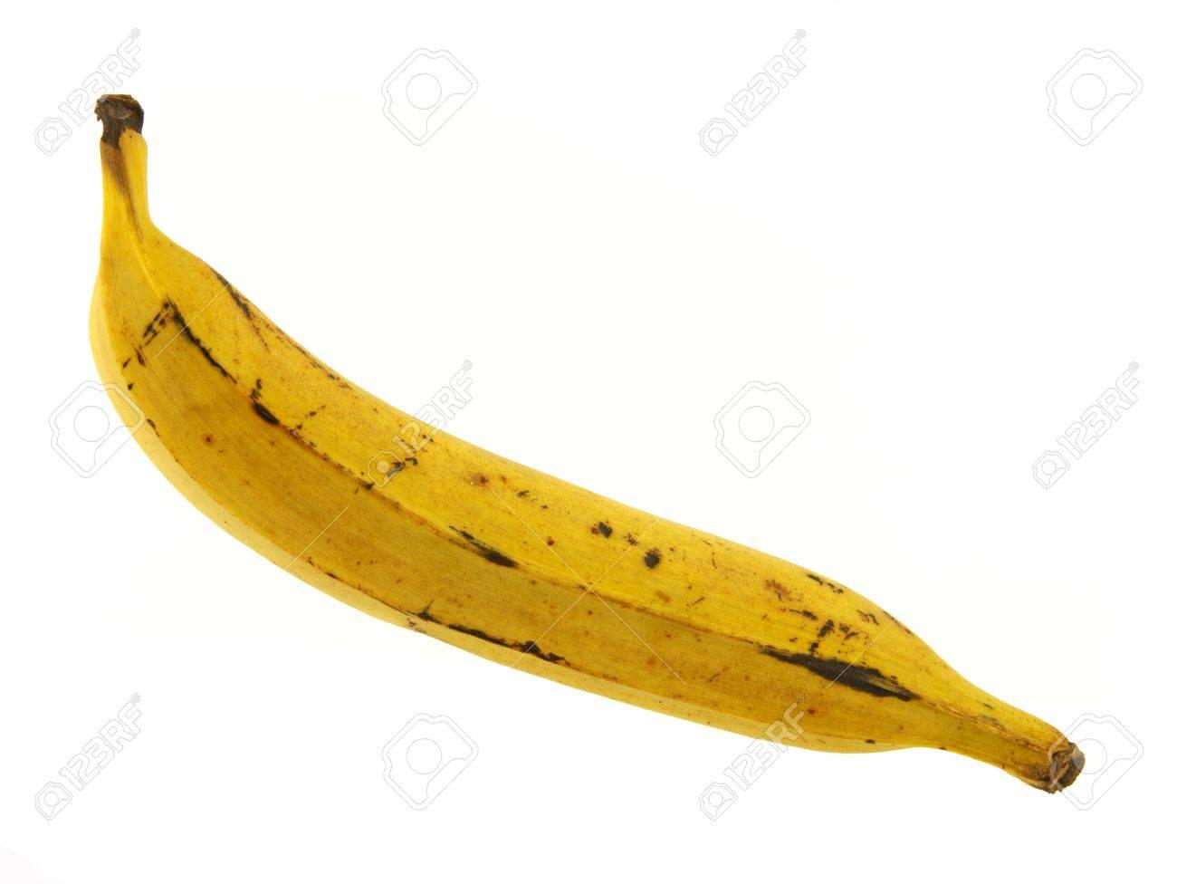 A single yellow ripe plantain banana against a white background. Stock Photo - 5941094