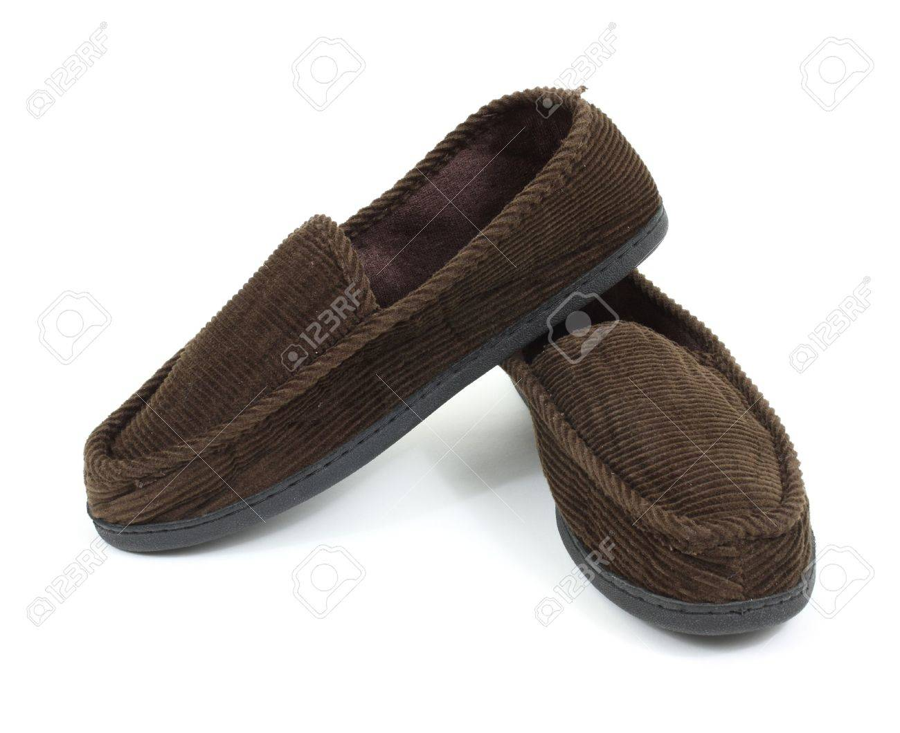 Men Bedroom Slippers A Pair Of Brown Mens House Slippers Against A White Background