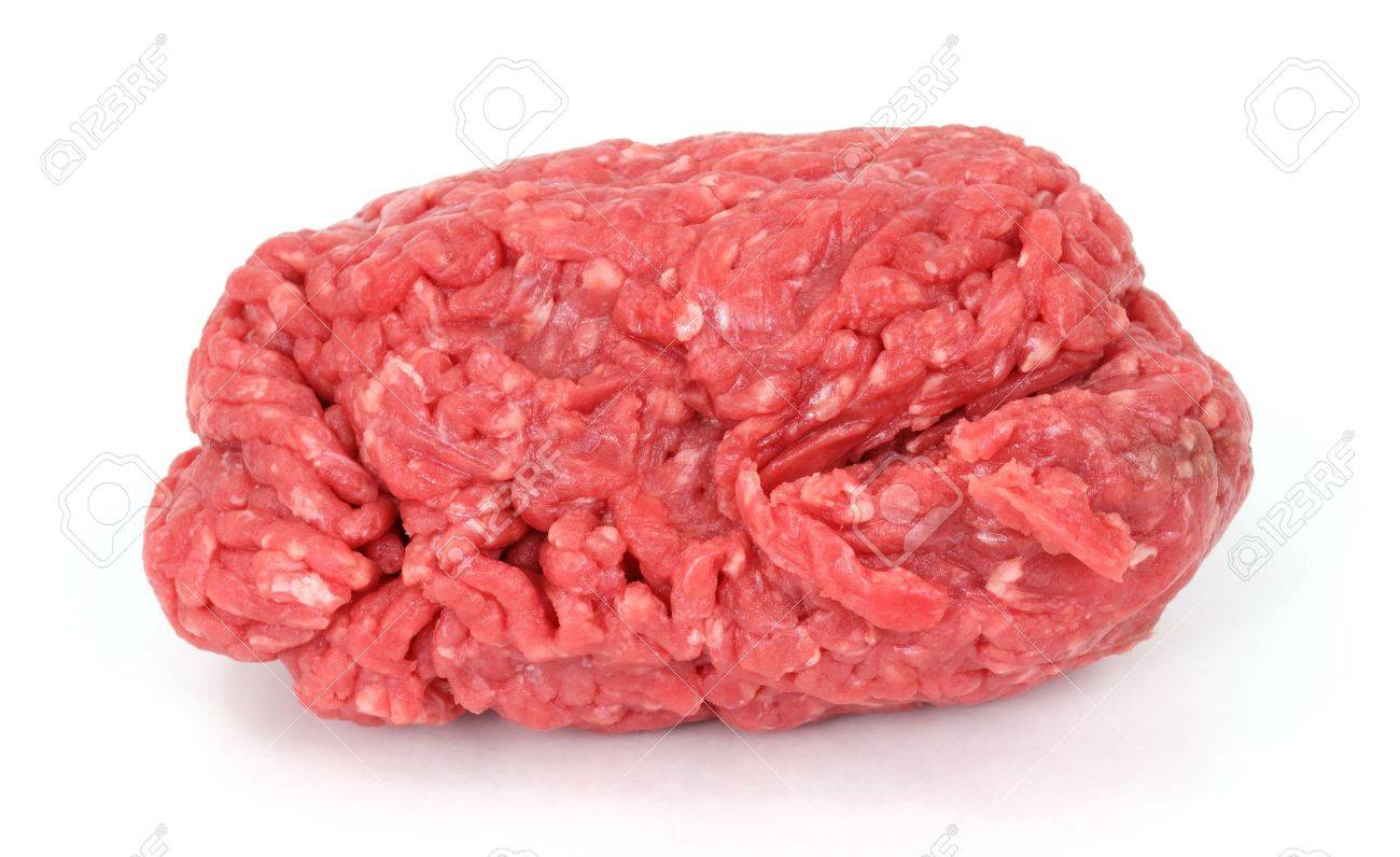 Lean ground beef freshly ground on a white background. Stock Photo - 8589475