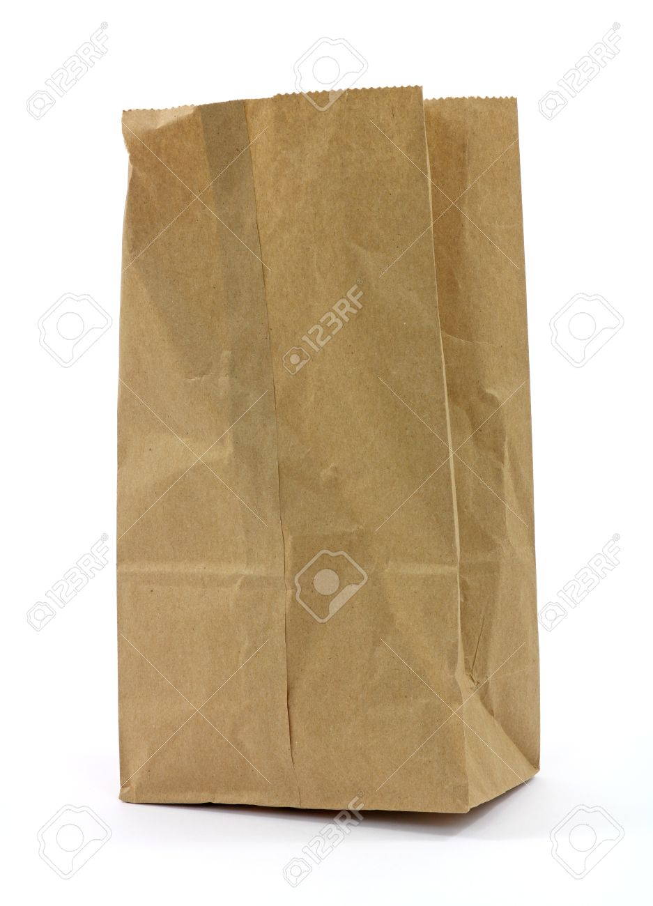 A Used Brown Paper Bag On White Background Stock Photo