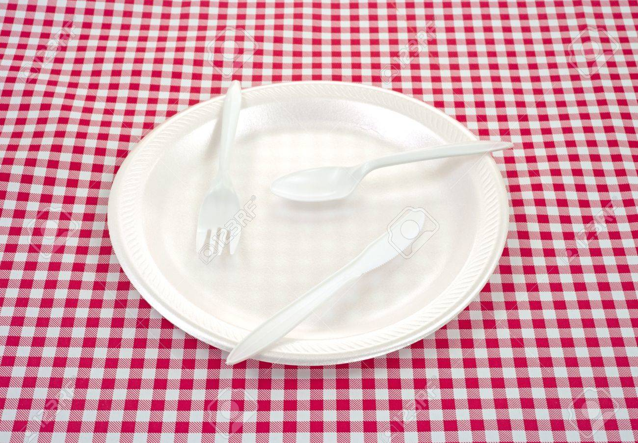 A Foam Picnic Plate With Plastic Silverware On A Checkerboard Tablecloth.  Stock Photo   12381688