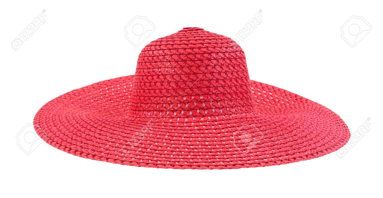 A large floppy red straw hat for ladies Stock Photo - 22875436 a2cc1767e1c