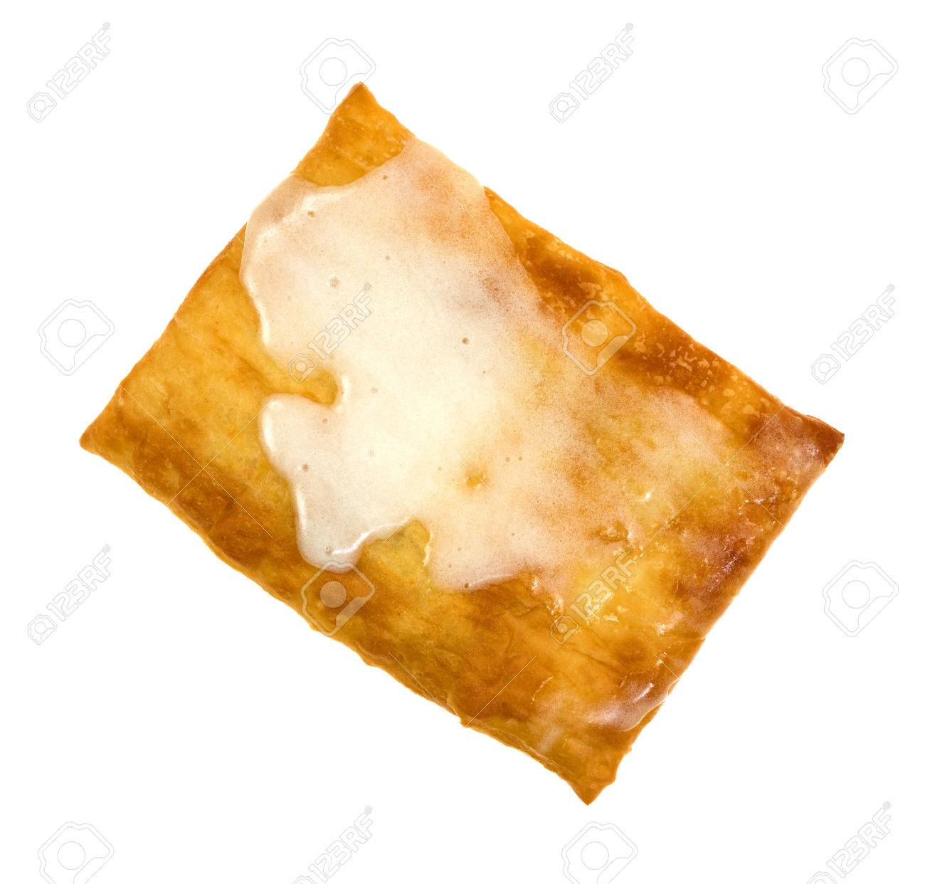 A Hot Toaster Strudel Pastry With Cream Cheese Icing A White