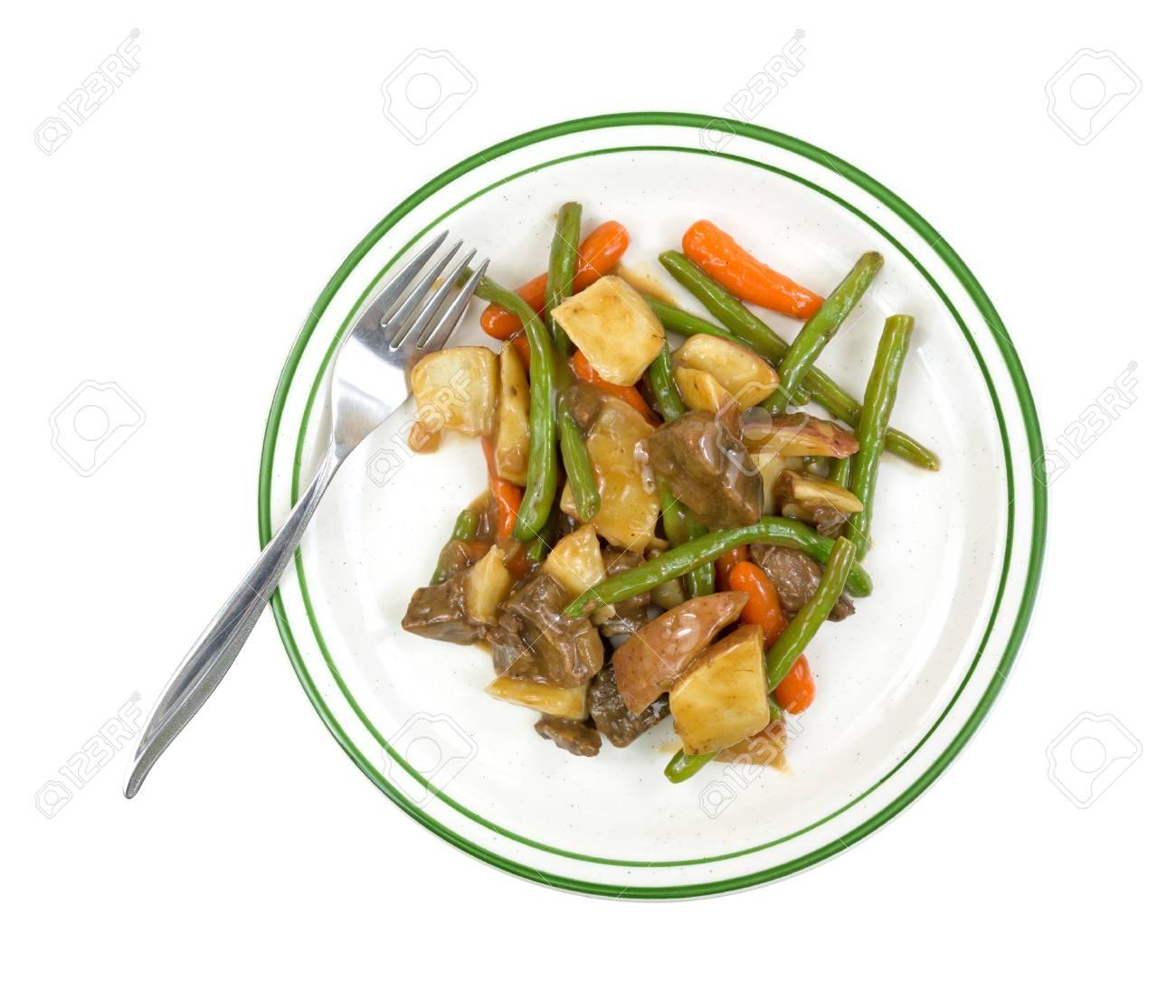 Vue De Dessus D Un Diner Regime De Tv De Boeuf Et De Legumes Dans