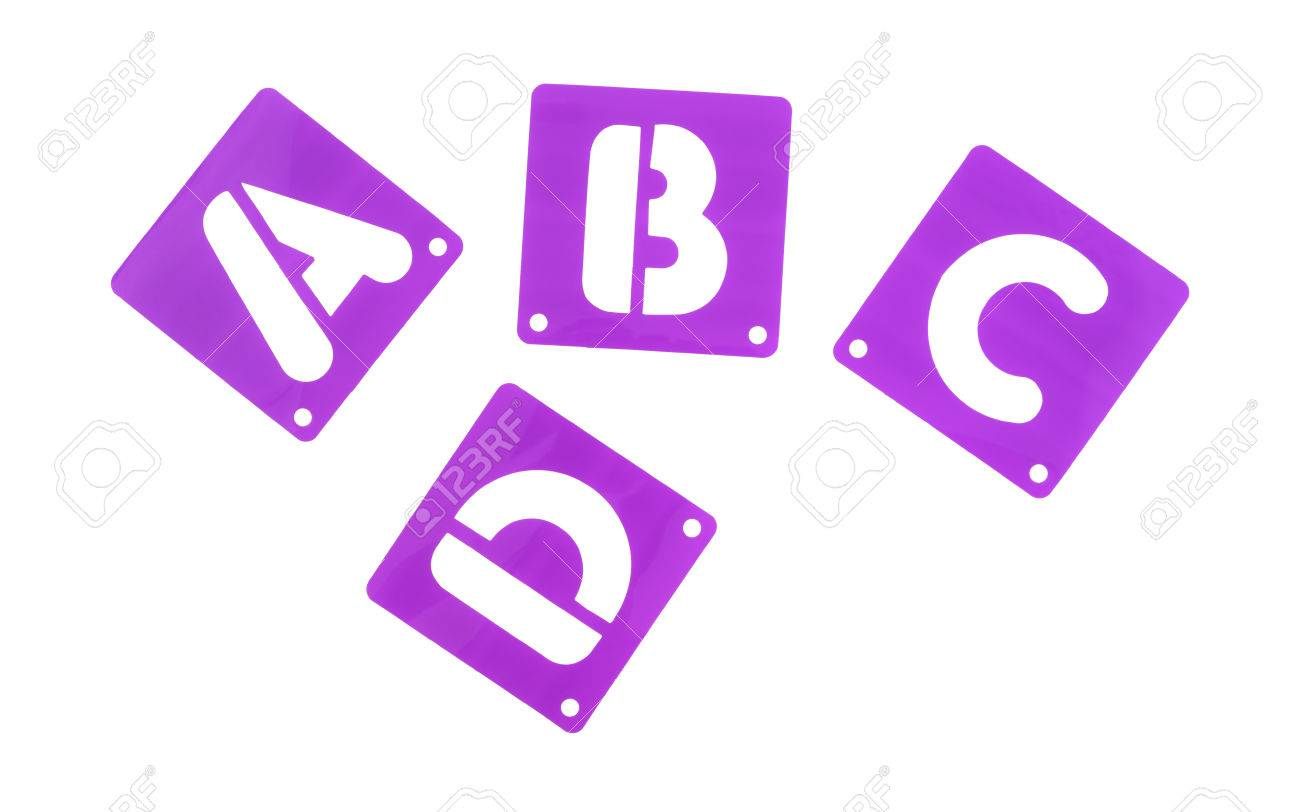 stock photo the first four letters of the alphabet poster board stencils isolated on a white background