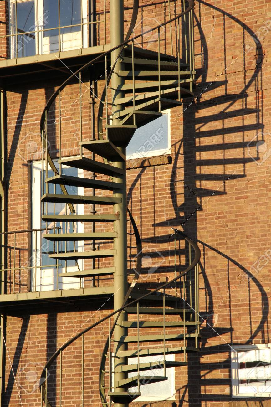 Iron Staircase Outside A Building Stock Photo   24327433