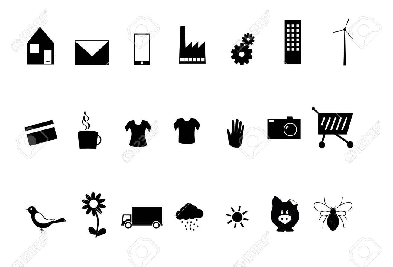 Varios Símbolos En Blanco Y Negro Ilustraciones Vectoriales Clip