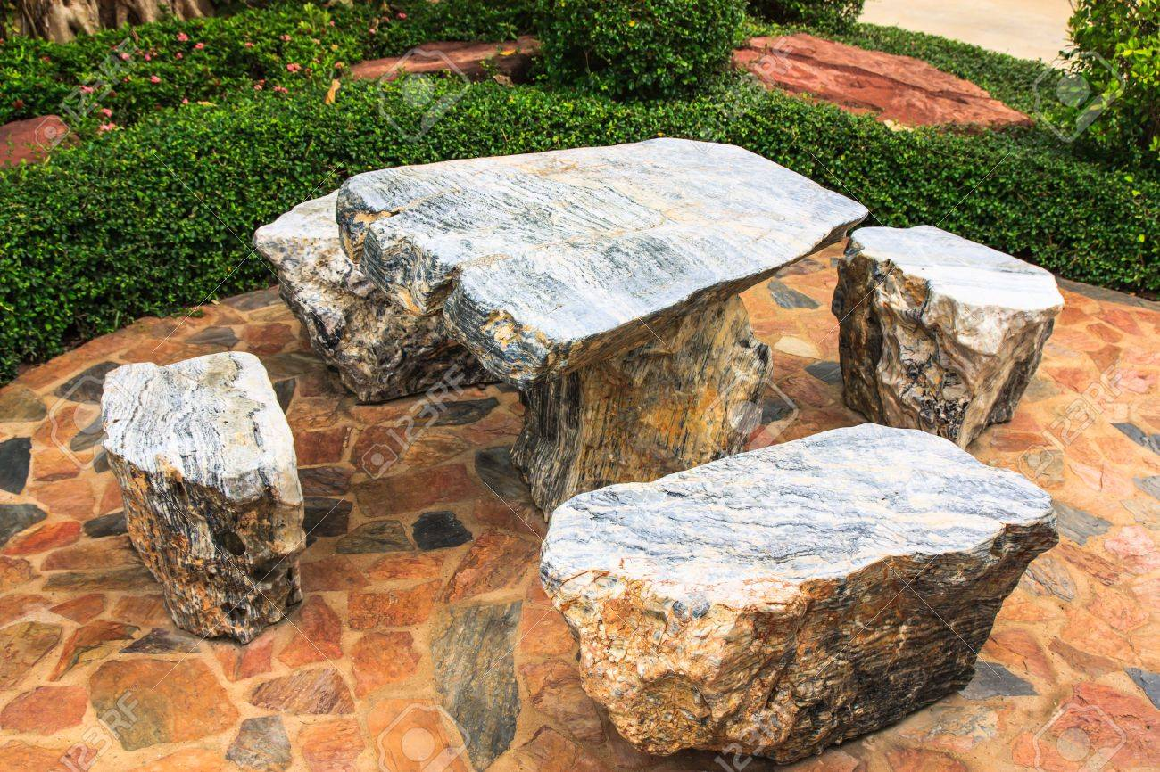 Stone Table And Benches In Public Park Stock Photo   21068701