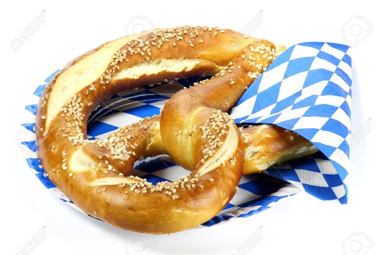 traditional bavarian oktoberfest pretzel isolated on white