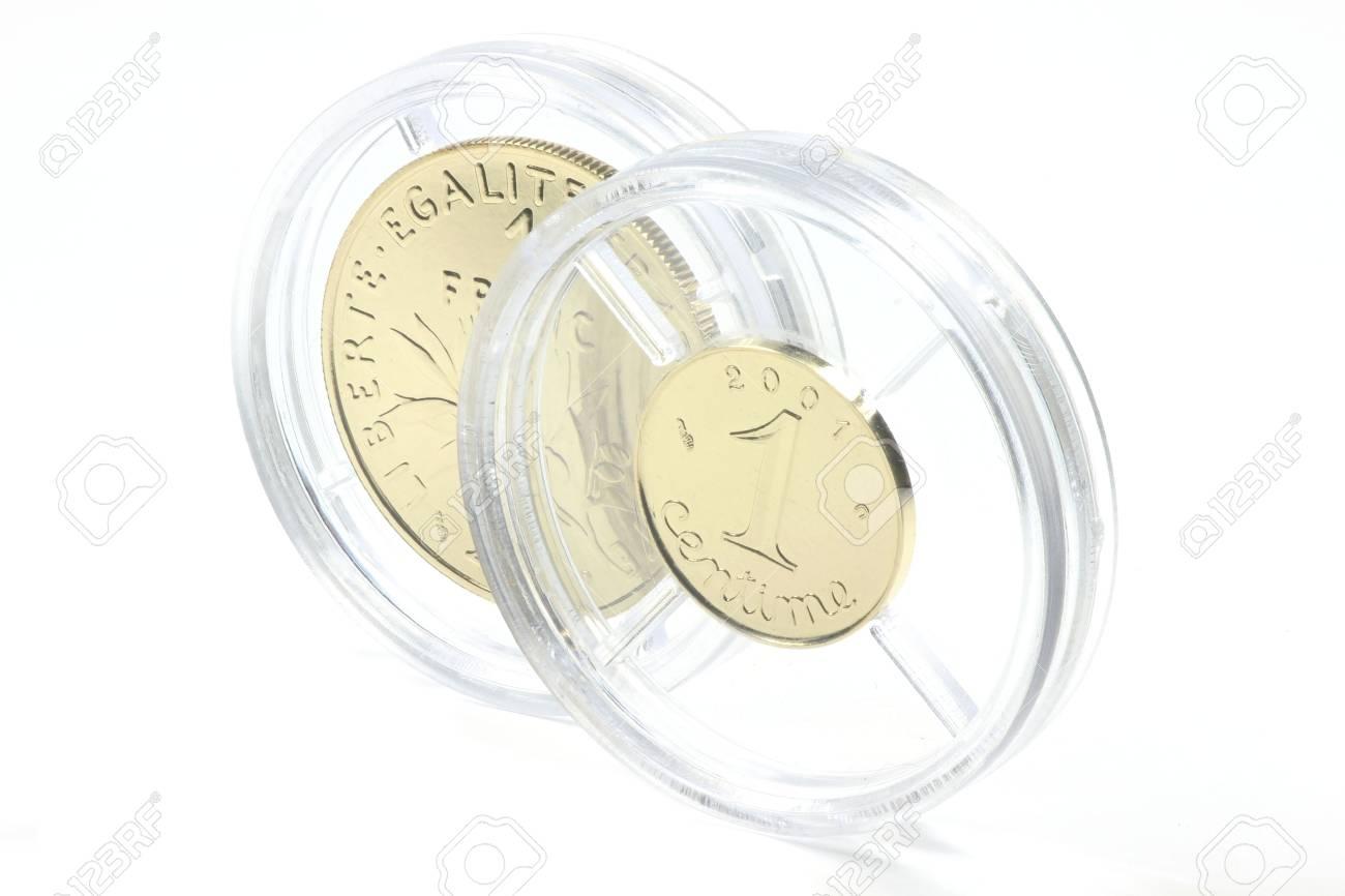 Spezielle Gold Ausgaben Des Französisch 1 Franc Und 1 Rappen Münze