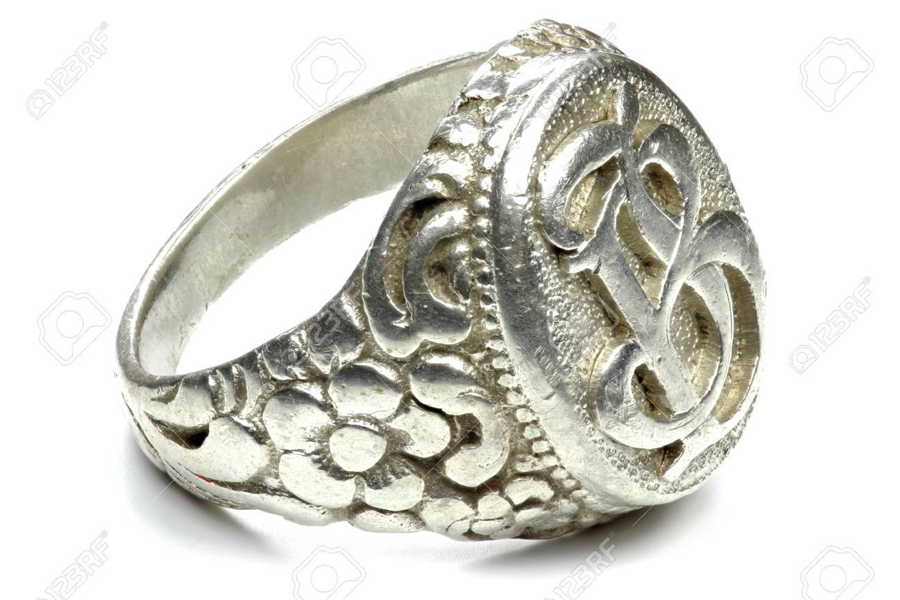 antique silver seal ring isolated on white background - 55016705