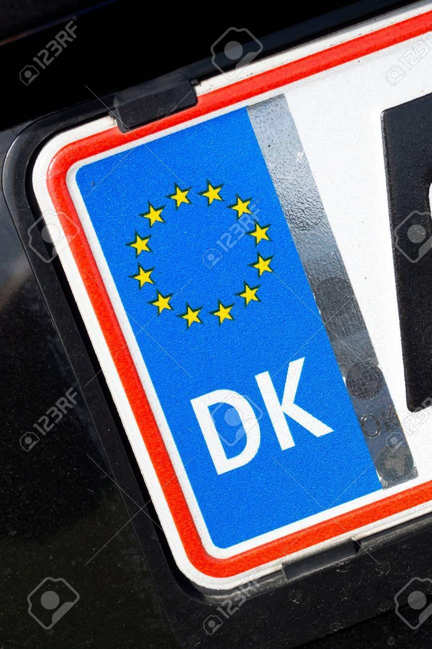 Country Identifier Of Eu Car Registration Plate Denmark Stock Photo