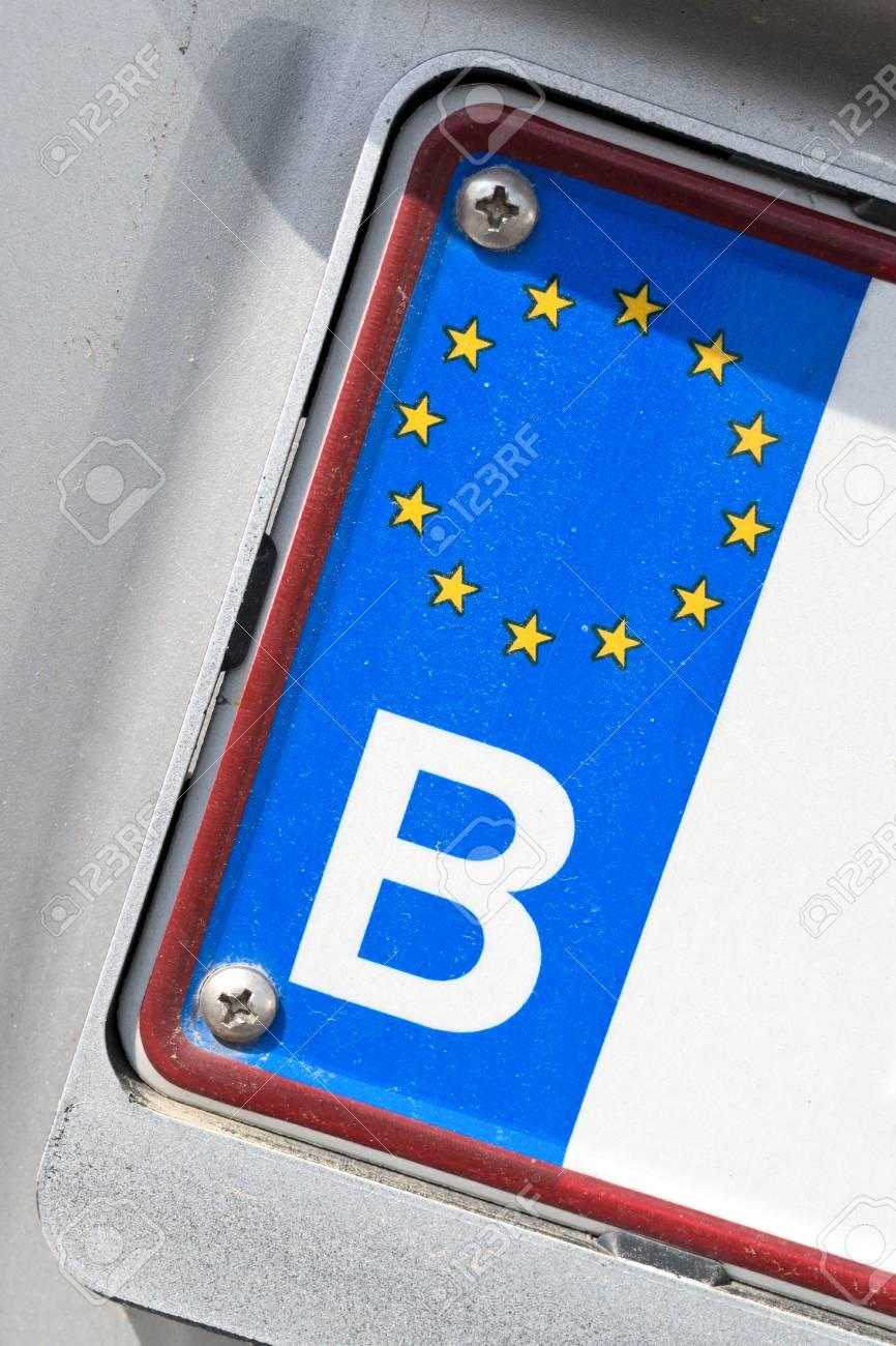 Country Identifier Of Eu Car Registration Plate Belgium Stock Photo