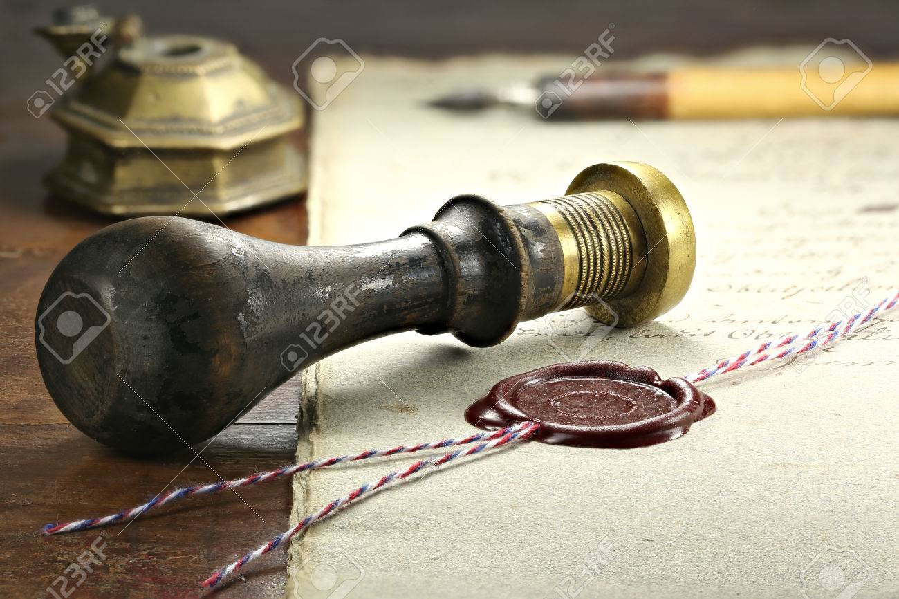 wax seal on document - 67057572