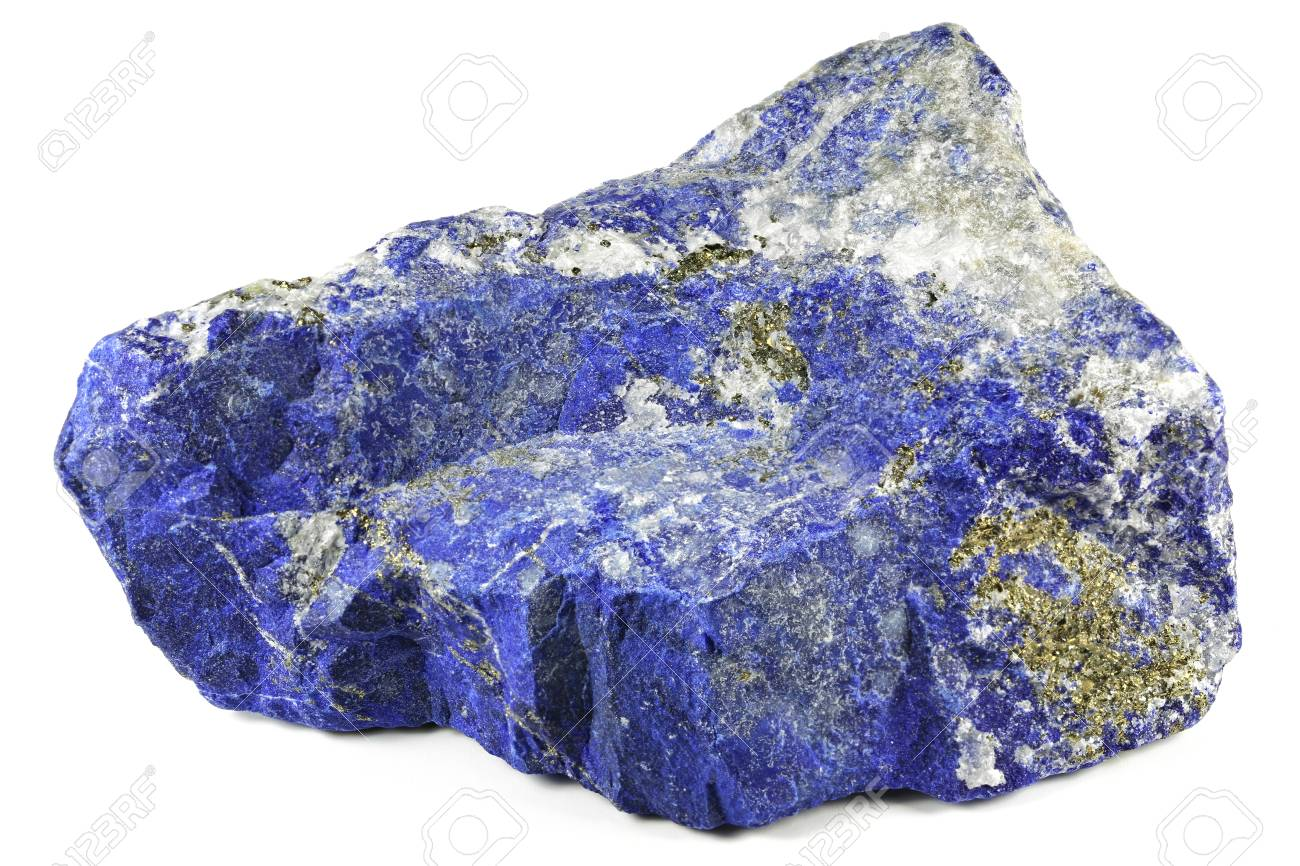 lapis lazuli from Afghanistan isolated on white background - 89630541