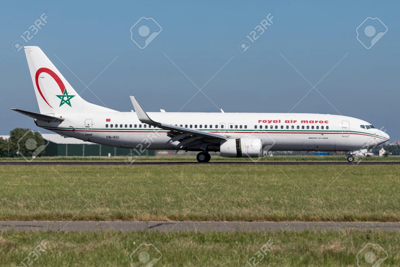 Royal Air Maroc Boeing 737-800 with registration CN-RGI just landed on runway 18R (Polderbaan) of Amsterdam Airport Schiphol. - 107048874