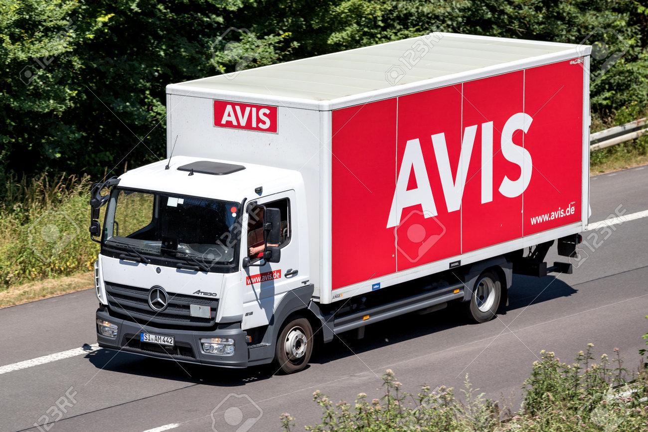 2e177afe2413a6 Mercedes-Benz Atego of Avis on motorway. Avis is an American car rental  company