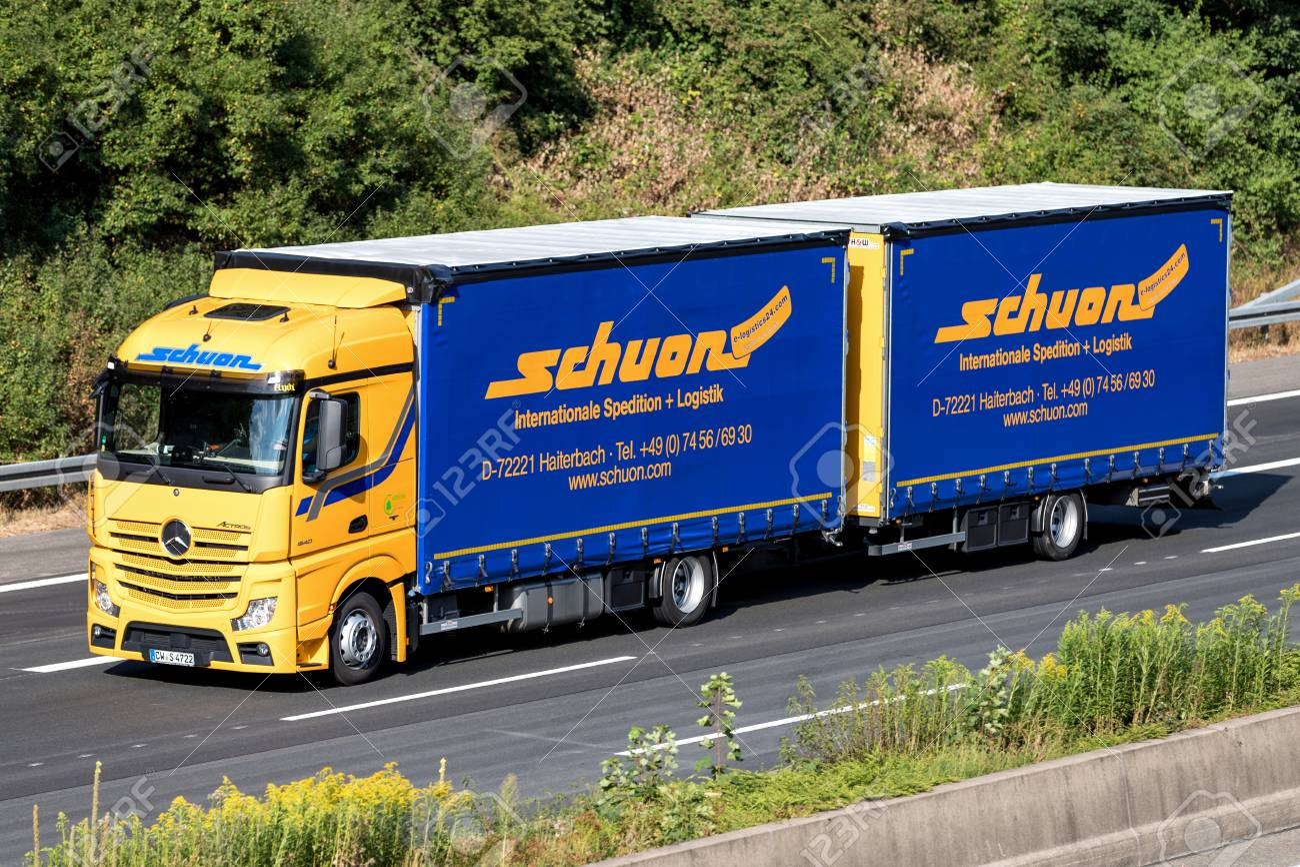 Schuon truck on motorway  Schuon is a German logistics company
