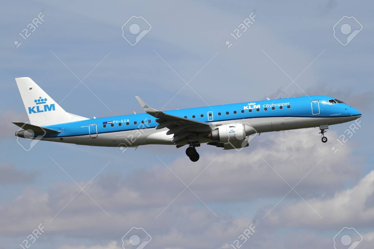 Dutch KLM cityhopper Embraer ERJ-190 with registration PH-EZB