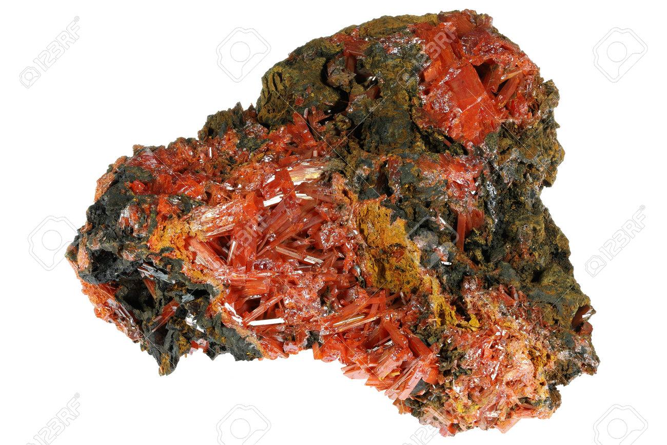 crocoite from Tasmania, Australia isolated on white background - 170982656