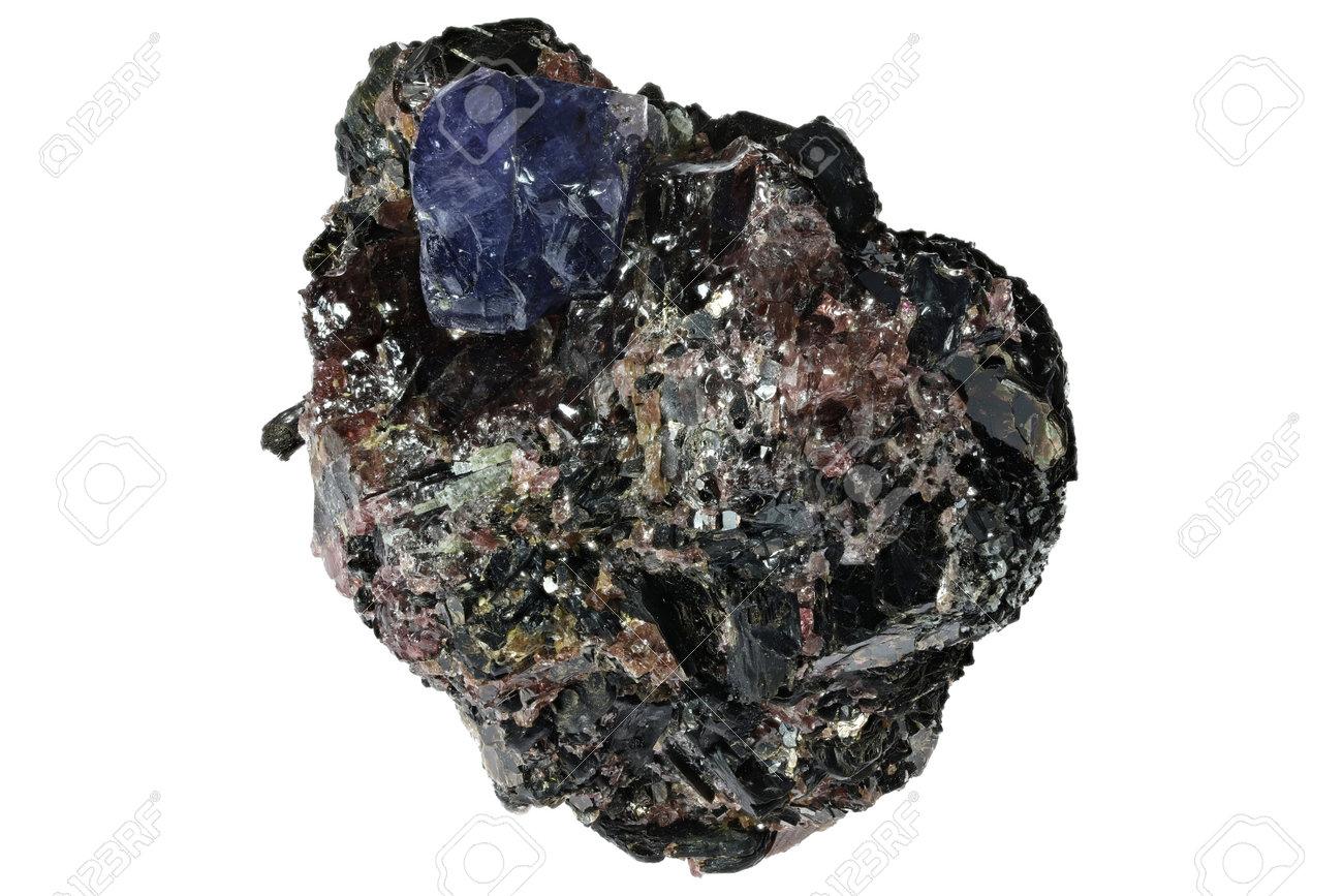 sapphire on matrix from Zazafotsy Quarry, Madagascar isolated on white background - 170982657