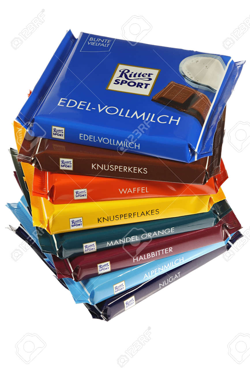 Ritter Sport chocolate bars isolated on white background - 171016234