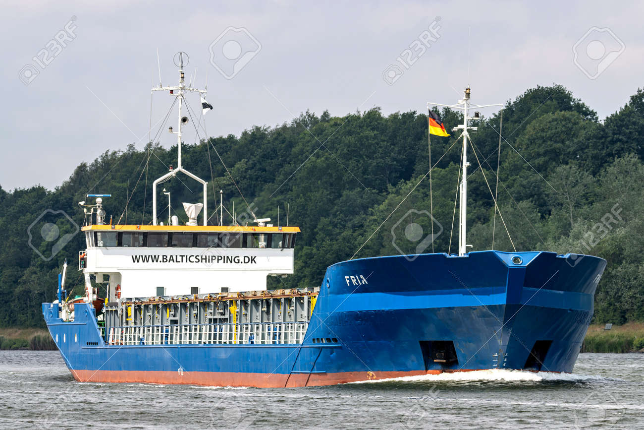 Baltic Shipping general cargo vessel FRIA in the Kiel Canal - 172059544