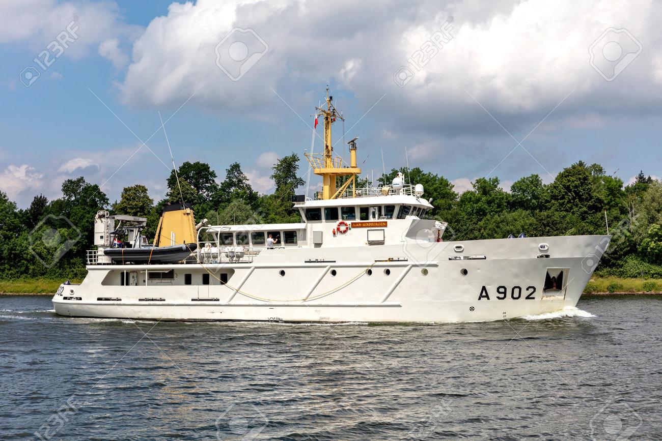 Dutch Navy training ship VAN KINSBERGEN in the Kiel Canal - 172059555