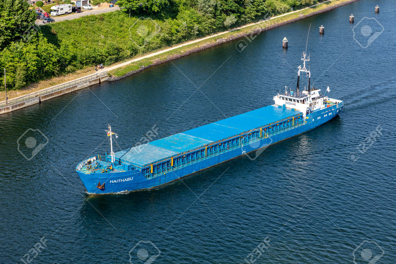 general cargo vessel HAITHABU in the Kiel Canal - 172177050