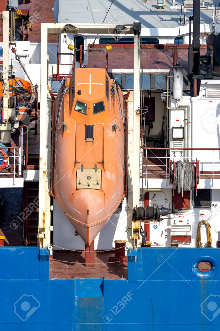 totally-enclosed lifeboat of an oceangoing freighter - 172124495