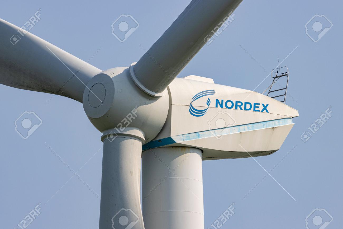 Nordex wind turbine against blue sky - 172291395