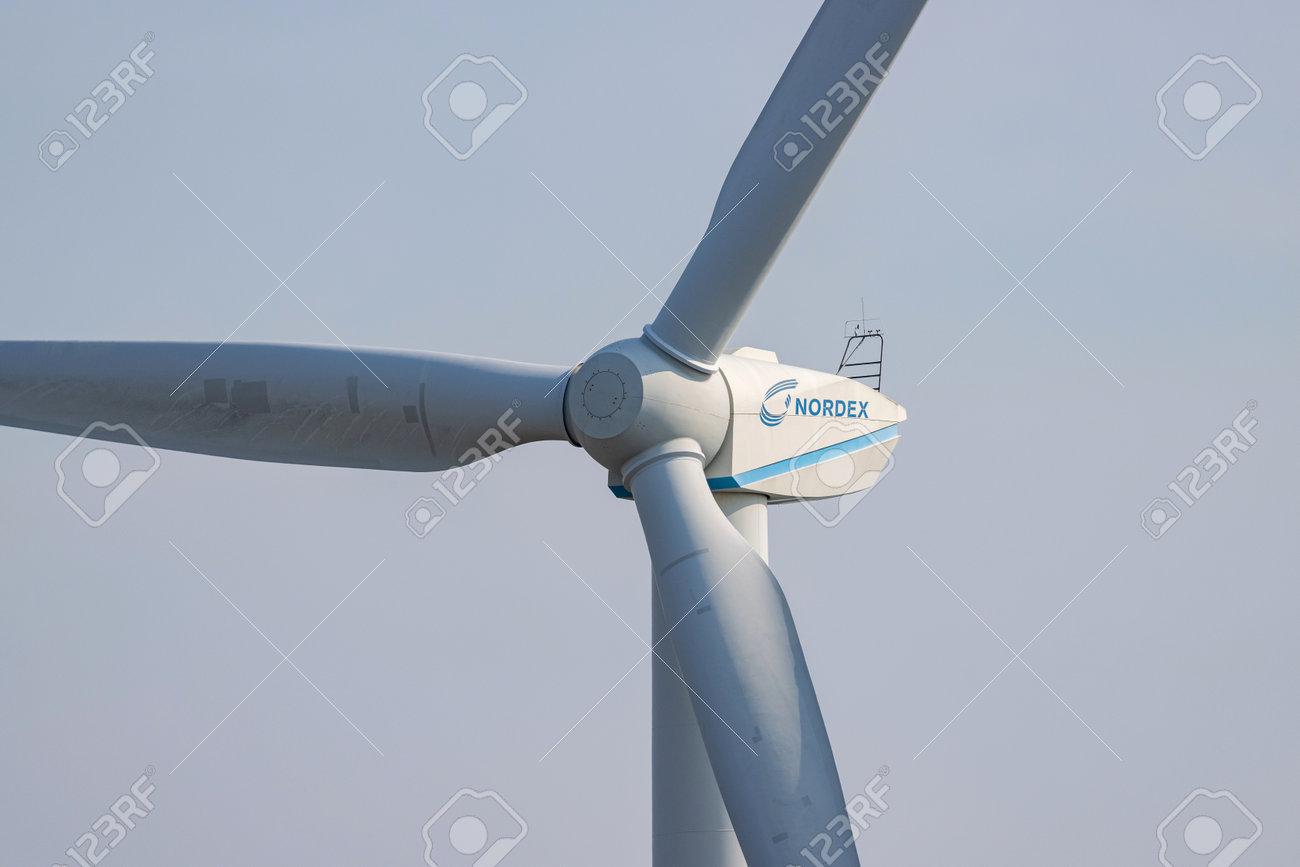 Nordex wind turbine against blue sky - 172232106