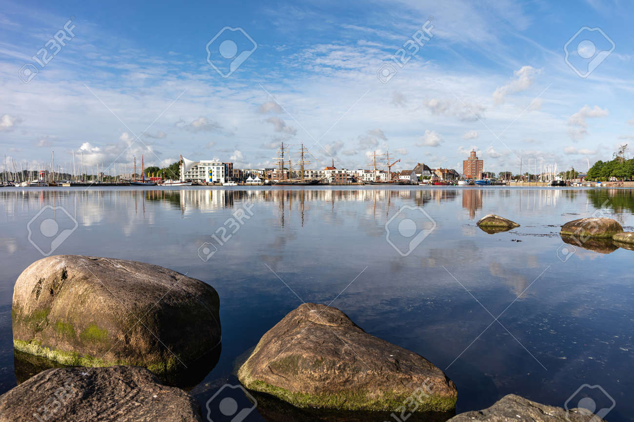 the touristic attractive city of Eckernförde in Schleswig-Holstein, Germany, seen from the Borby district - 172231235