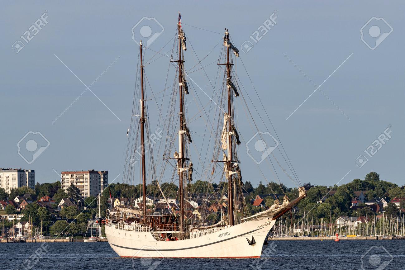 three-masted barque ARTEMIS in the Kiel Fjord - 172291396