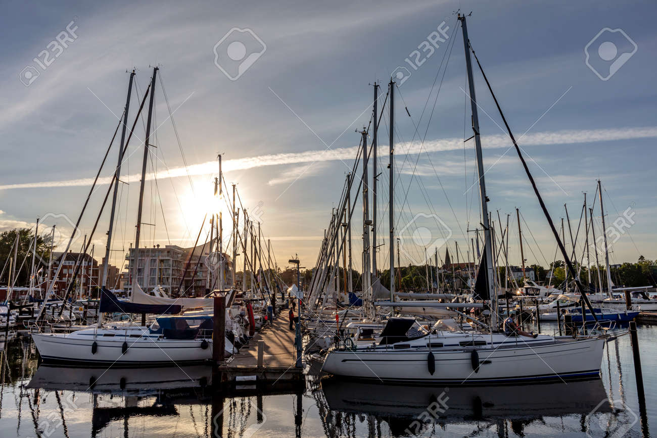 Baltic Sea marina at sunset - 172440732