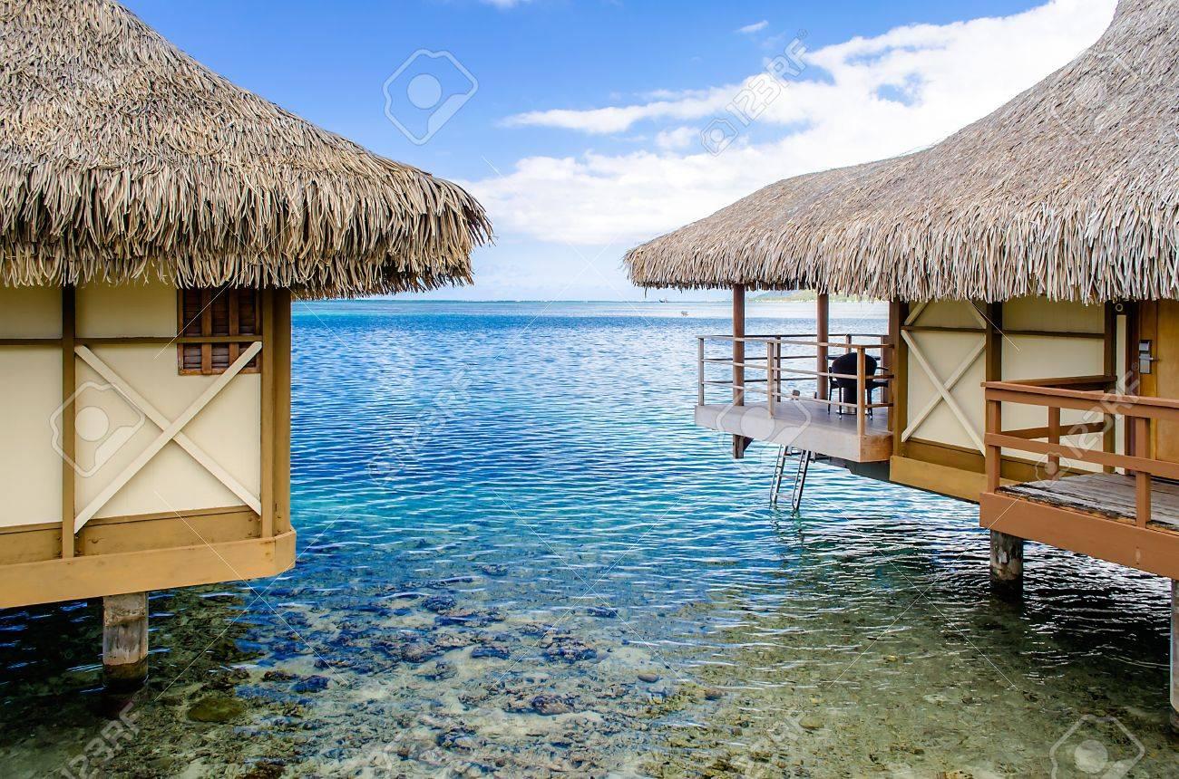 Overwater Bungalows, Moorea, French Polynesia Stock Photo - 16539675