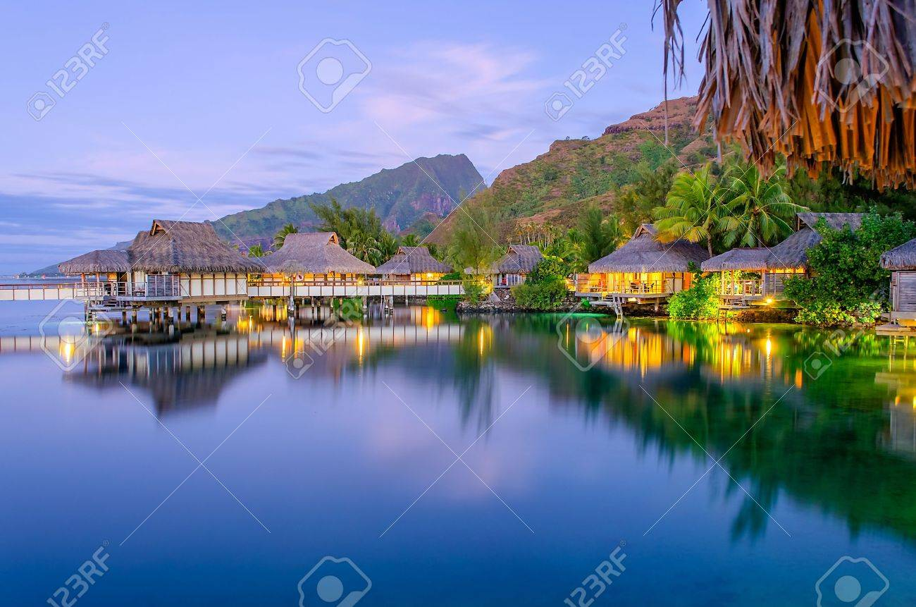 Overwater Bungalows at dusk, French Polynesia Stock Photo - 16243675