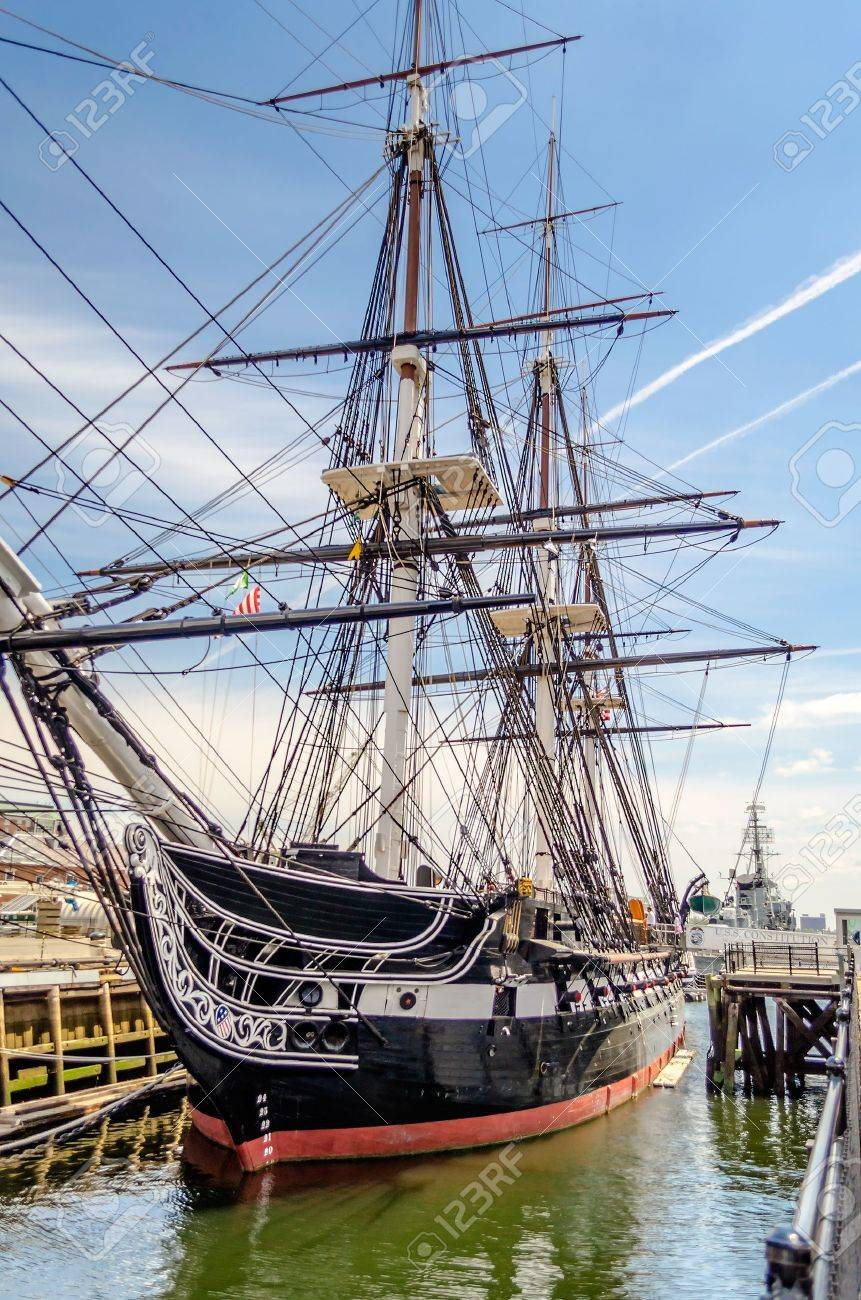 uss constitution wooden hulled three masted heavy frigate of