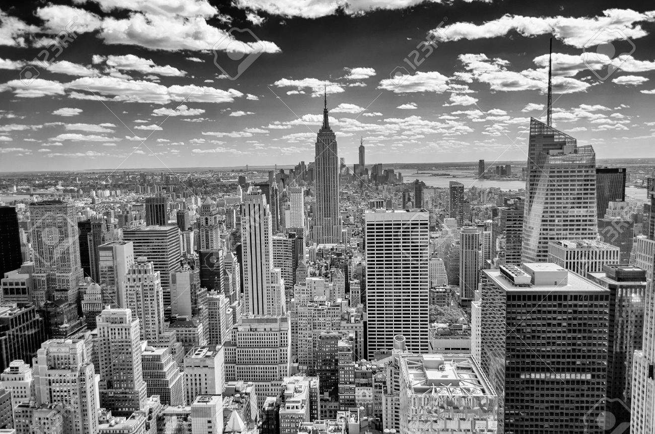Horizon de New York, Panorama sur Manhattan du haut de la terrasse d'observation des Roches Banque d'images - 21163590