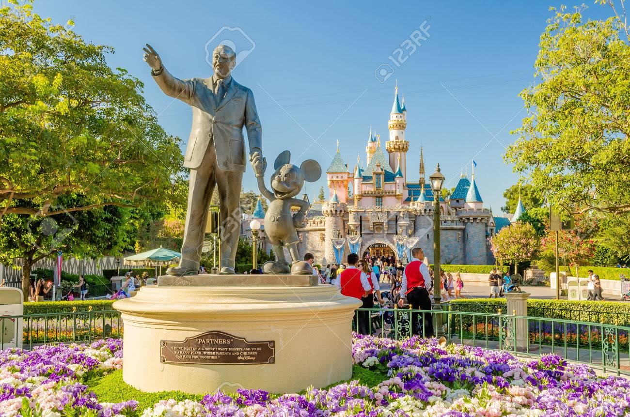 Walt Disney And Mickey Mouse Statue At Disneyland Park Stock Photo