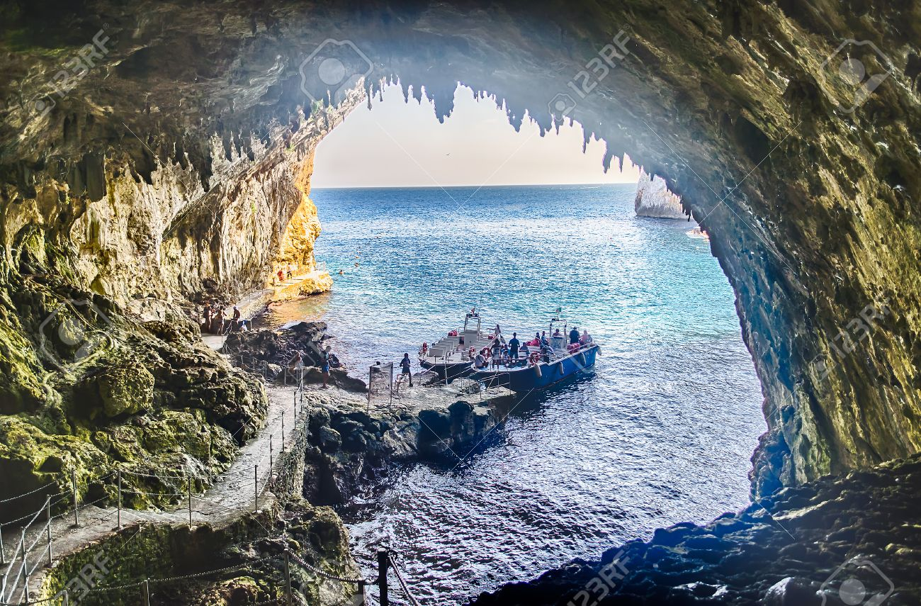 The scenic Zinzulusa cave and seascape in Salento near Otranto, Apulia, Italy - 54038795