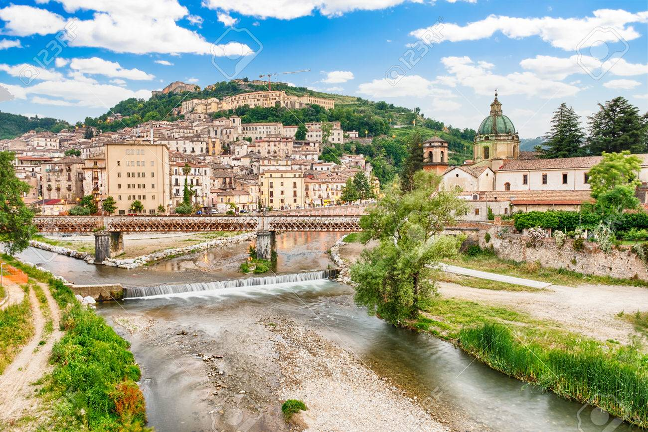 Scenic aerial view of the Old Town with the Crathis River and historic buildings in Cosenza, Calabria, Italy - 58923481