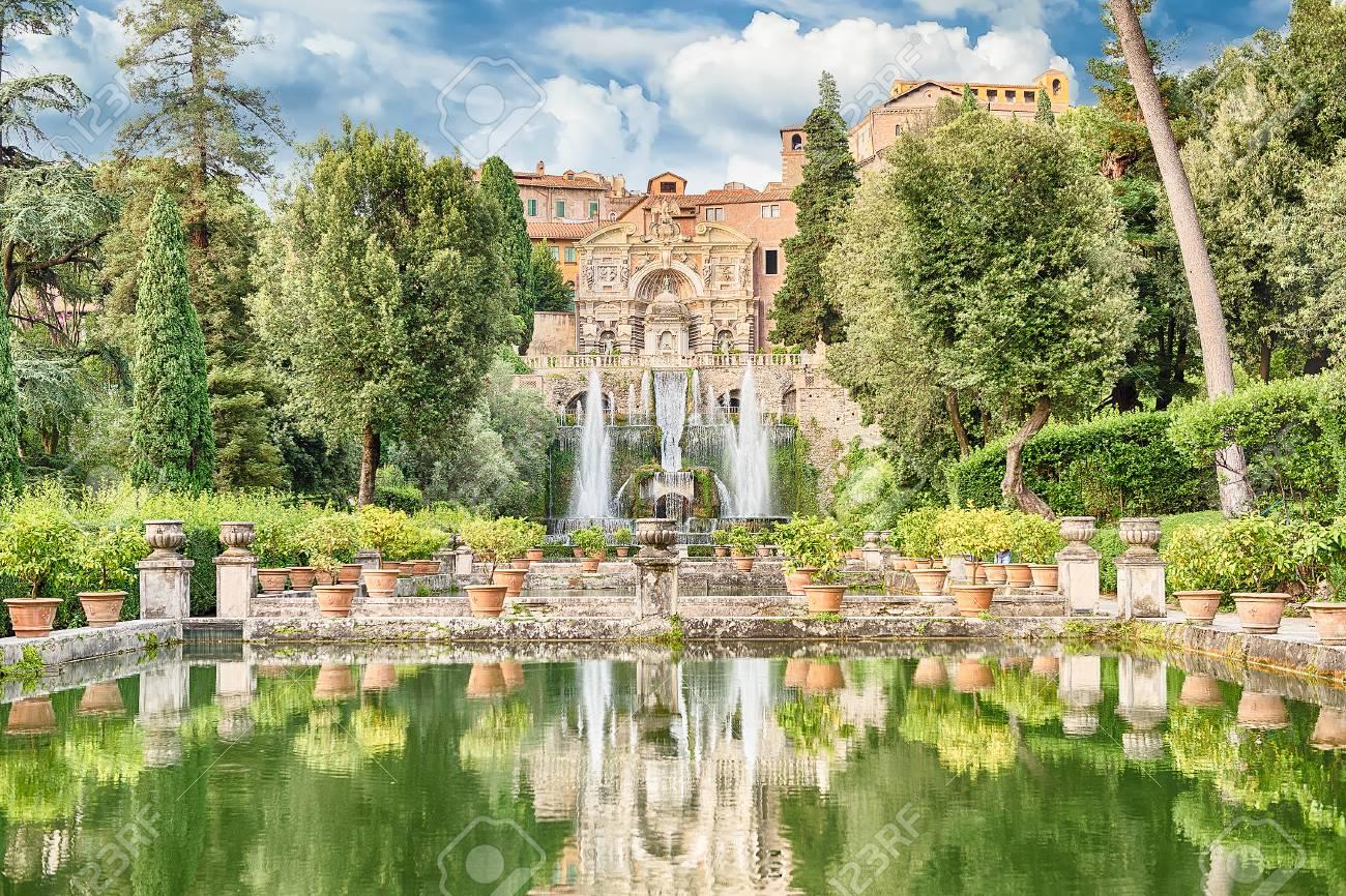 Fish ponds and fountain of Neptune, scenic view in Villa d'Este, Tivoli, Italy - 64954187